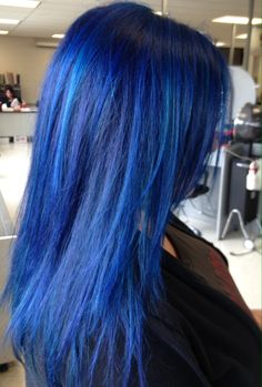 Blue hair.  Formula: 3 oz pravana vivid blue to .5 oz pravana vivid green My hair was very yellow which is why I added the green. The more product that is added, the darker the color will turn out.