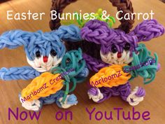 Easter BUNNIES holding Carrots. Designed and loomed by Marlene Barressii. YouTube tutorial on the MarloomZ Creations channel.