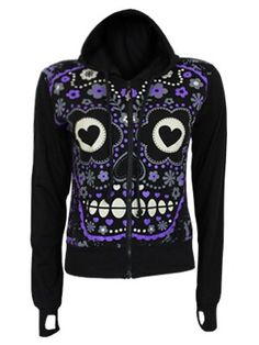 Banned Sugar Skull Ladies Black Hoodie