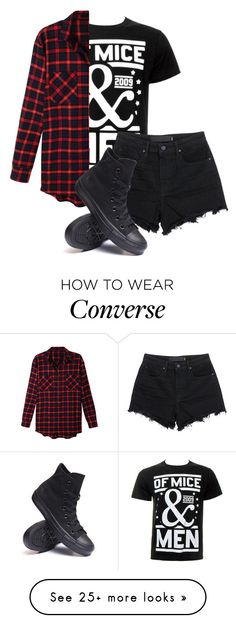 """Untitled #559"" by bands-are-my-savior on Polyvore featuring LE3NO, T By Alexander Wang and Converse"