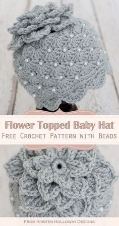 Free Crochet Baby Hat Pattern for Girls This cute crochet baby hat crochet pattern is topped with a flower. It includes pretty shell stitches, and beads, and is an easy crochet project to ma. Crochet Baby Hats Free Pattern, Bonnet Crochet, Crochet Baby Beanie, Baby Girl Crochet, Crochet Baby Clothes, Cute Crochet, Crochet Crafts, Baby Knitting, Crochet Projects