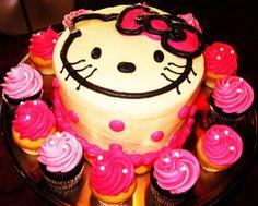 Hello Kitty Birthday Cake with Cupcakes / 2tarts Bakery / New Braunfels, TX / www.2tarts.com