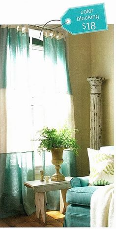 DIY color block curtains