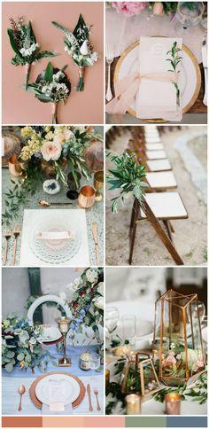copper, rose, dusty blue // organic wedding palette