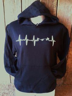 TEAM ROPING HEART BEAT HOODIE Glow-n-Dark Safety Sweatshirt Black Calf Roper
