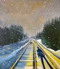Oil on canvas Railroad Tracks, Oil On Canvas, Cool Pictures, Dads, Paintings, Paint, Painted Canvas, Fathers, Painting Art