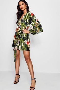 337129b9 online shopping for Jesca Tie Front Ruffle Sleeve Printed Shift Dress from  top store. See new offer for Jesca Tie Front Ruffle Sleeve Printed Shift  Dress