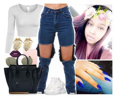 """""""Amber house // Mia"""" by saucinonyou999 ❤ liked on Polyvore featuring Ray-Ban, CÉLINE, NIKE and Lime Crime"""