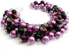 Purple Wedding Jewelry Pearl Beaded Bracelet by KIMMSMITH on Etsy, $19.00