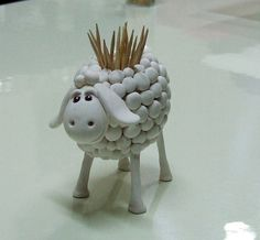Sheep Toothpick Holder..cool idea to make with clay