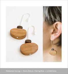 Pebblestack jewelry by Tandi Venter and Ben Robbins Paper Earrings, Wooden Earrings, Metal Necklaces, Wooden Jewelry, Diy Earrings, Handmade Jewelry, Jewelry Crafts, Jewelry Art, Jewelry Accessories