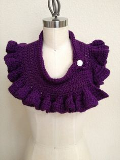 Crochet Ruffle Cowl  Purple by NydiaFierroDesigns on Etsy, $28.00