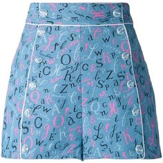 Olympia Le-Tan Alphabet Print Shorts (425 CAD) ❤ liked on Polyvore featuring shorts, olympia le-tan, bottoms, blue, blue shorts, multi colored shorts, patterned shorts, colorful shorts and blue cotton shorts