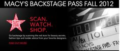 Macy's, QR code promo, scan the star and watch 'backstage' videos