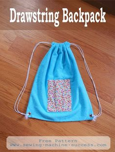 Beach bag, gym bag - anything bag. Cute drawstring backpack.  Free easy pattern.  www.sewing-machine-success.com