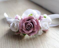 Pulsera de novia con rosas pulsera de flor rosa Flor nupcial