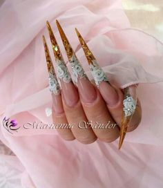 Gold stiletto with flowers