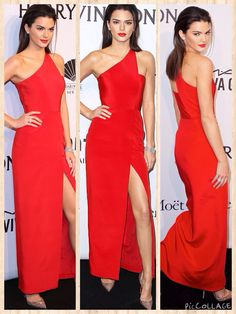 Painting the town red! Kendall Jenner looks runway ready in thigh-high split gown at amfAR Gala in New York