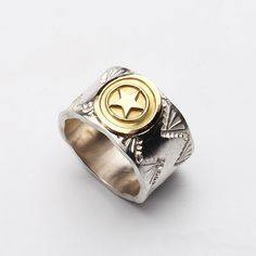 Handcrafted silver ring - finished with rough, uneven edges.   Features an 18K gold lucky star, and engraved mountain motifs.    #sterlingsilver #navajo #ring