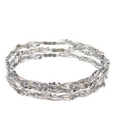 Look at this Crystal & Silvertone Braided-Bead Bangle Set on #zulily today!