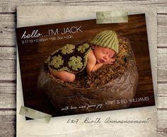 Birth Announcement Boy Hello Baby Announcement by StudioTwentyNine, $8.00