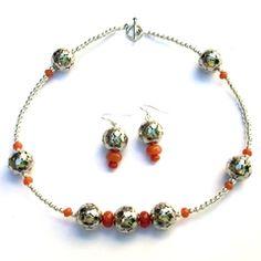 Collar + Aros de Esferas con Piedras Naranja