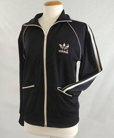 048998f1379 Vintage 70's Adidas Track Jacket 1970's Retro Black Vintage Adidas, Striped  Jacket, Vintage 70s