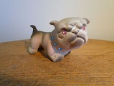 Vintage California Pottery USA BULLDOG Figurine Rhinestone Eyes Collar