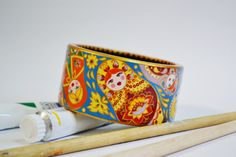Wooden Bracelet Bangle Hand painted for Russian by IGORartPAINTING