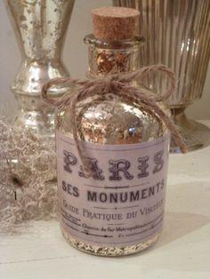 Glasflasche,Glas Flasche * PARIS * Bauernsilber,Silberglas,Shabby,Franske,French