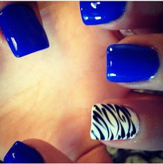 Kentucky nails. Zebra accent nail. Blue nails.