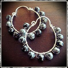 Handmade sterling silver hoop earrings, wire wrapped with round snowflake obsidian gemstone beads- Meredith Terry Earrings on Etsy, $30.00