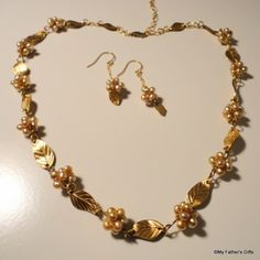 Gold Leaves and Pearls Necklace and Earrings Set 14 kt. $45 ibhandmade