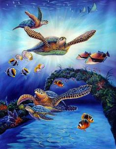 Famous Art Sea Creatures | Chelonian Oil Painting In Sea: Paintings Realism Canvas Animal Refine ...