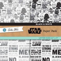 Star Wars Black & White Letter Sized Paper Pack : 12 Printable