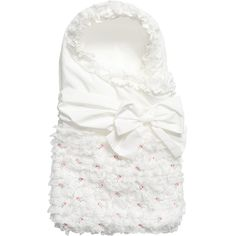 Aletta White & Pink Rosebud Padded Baby Nest (67cm) at Childrensalon.com
