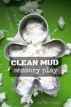 Cheap Summer Activities For Kids: Easy to set up, cheap way to play - clean mud is a fun sensory activity you can . Art Therapy Activities, Sensory Activities, Infant Activities, Sensory Play, Learning Activities, Homeschooling Resources, Indoor Activities, Sensory Boxes, Sensory Table