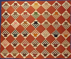 """1850 - 1870 Flower Basket Quilt Dimensions: 81"""" (l) x 67"""" (w) This quilt is in exceptionally good condition and representative of the very fine hand quilting of the period. It has a local connection through Geneseo, NY."""