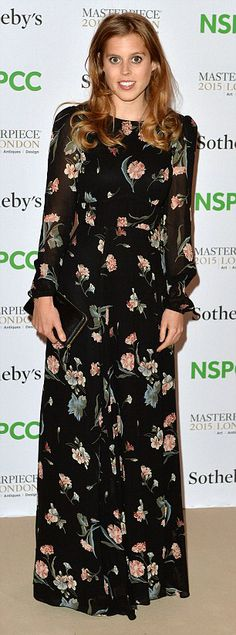 Princess Beatrice, pictured at an NSPCC event in June, looks elegant in a floor-length floral gown