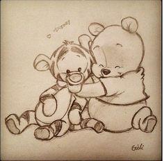 winnie the pooh :) zeichnungen, zeichnung, disney - KUNST Cute Drawings, Drawing Sketches, Drawing Ideas, Drawings About Love, Cool Sketches, Sketching, Disneyland, Winnie The Pooh Drawing, Pooh Winnie