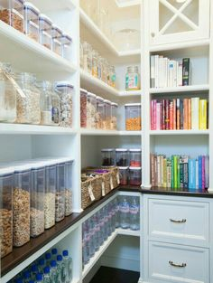 Walk In Pantry Design : Sweet transitional kitchen pantry walk in kitchen is kitchen pantry with white shelving with rustic wood flooring with rustic hard wood floor with walk in kitchen pantry. White sliding barn door kitchen decoratively kitchen walk i Kitchen Organization Pantry, Pantry Storage, Kitchen Storage, Home Organization, Organized Kitchen, Food Storage, Tupperware Storage, Pantry Shelving, Kitchen Shelves