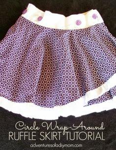 Circle Wrap-Around Ruffle Skirt Tutorial by Adventures of a DIY Mom Ruffl Skirt, Circles, Beauti Skirt, Wraparound Ruffl, Circl Wraparound, Cloth, Skirts, Girl Skirt, Ruffle Skirt Tutorial