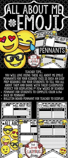 All About Me EMOJI Pennants are perfect for your students as they start back to… 3rd Grade Classroom, Classroom Themes, School Classroom, Beginning Of The School Year, First Day Of School, Writing Mini Lessons, Back To School Special, Back To School Bulletin Boards, Teacher Helper