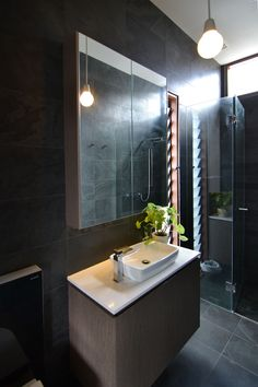 Adults Bathroom with tiling from Bisanna and custom Timber Veneer Vanity Residential Architecture, Modern Architecture, Man Cave Bathroom, Shabby Chic Baby Shower, Courtyard House, Glass House, Home Renovation, Design Crafts