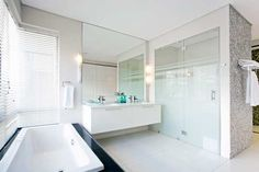 Architecture, Best Architectural Bath Room Tube White Cabinets Mirror Curtain Bright Glass Partition Door Granite Tile Hand Towel Faucet House Decor Villa Modern Camps Bay Interior Home Lamp: Welcoming Two-In-One Guest Home In Camps Bay