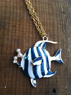 Blue and White Fish Necklace by Krazy4Kamo on Etsy, $3.00