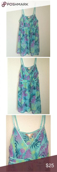 """Cacique Tropical Nightgown Plus Size A touch of the Islands...makes you feel like you're on that vacation again!  Lovely aqua and purple tropical print.  Double row of elastic in the back. Size 14/16, is a 1X? 23"""" length from underarm to hem. Cacique Intimates & Sleepwear Chemises & Slips"""