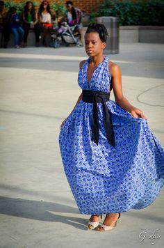 Blue African Print Ankara Halter Neck Dress