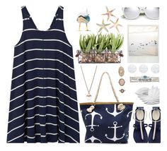 """""""Going Coastal"""" by annbaker ❤ liked on Polyvore featuring Kenneth Cole, MANGO, FOSSIL, Yves Saint Laurent, Privilege, Simon Pearce and Forever 21"""