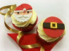 12 Christmas Cupcake Fondant Toppers Santa Face by LenasCakes, $20.95